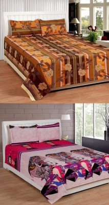 ROYAL SHRI OM Cotton 3D Printed Double Bedsheet