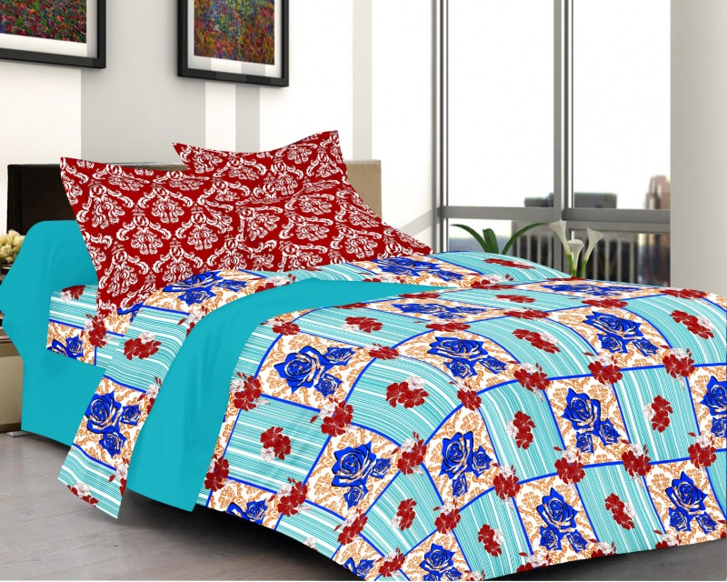 Prestige Cotton Abstract Queen sized Double Bedsheet Marval Prestige Printed Cotton Double Bed Sheet (1+2) Set