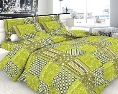 The White Moss Cotton Geometric Double Bedsheet