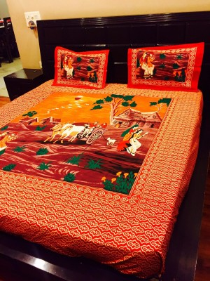 Jaipur Fabric Cotton 3D Printed Double Bedsheet