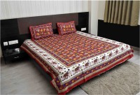 MARUDHARA Cotton Printed Double Bedsheet(SET OF 3 -- 1 BED COVER +2 PILLOW COVER, Multicolor)