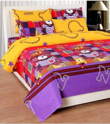 Home Gold Cotton 3D Printed Double Bedsheet