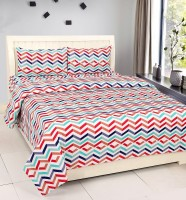 Zesture Cotton Abstract Double Bedsheet(1 Double Bedsheet, 2 Pillow Covers, Multicolor)