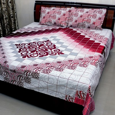 Balaji Texo Fab Polyester Silk Blend Checkered Double Bedsheet