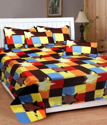 DECO INDIA Cotton Abstract Double Bedsheet