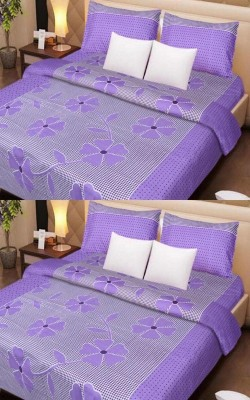 S Redish Cotton Floral Double Bedsheet