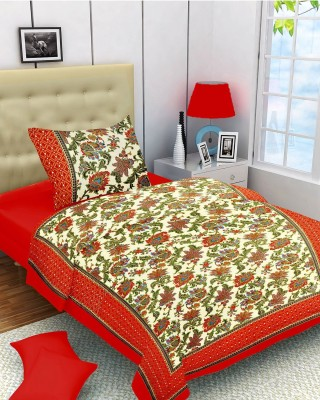Lali Prints Cotton Embroidered Single Bedsheet
