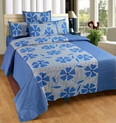 YashnaDecor Cotton Floral Queen sized Double Bedsheet