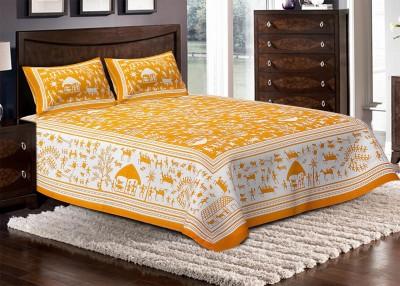 Jaipuri Haat Cotton Self Design Double Bedsheet
