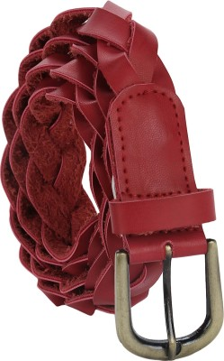 Jainsons Women Casual Red Genuine Leather Belt