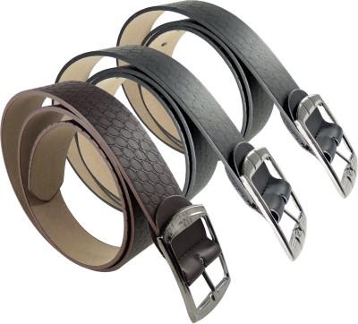 RABARMAN Men, Boys Brown, Black Artificial Leather Belt