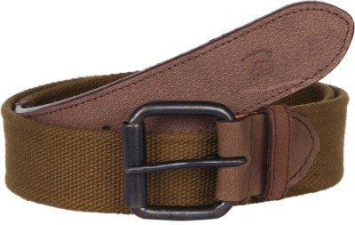Kaizu Men Casual Green Canvas, Genuine Leather Belt