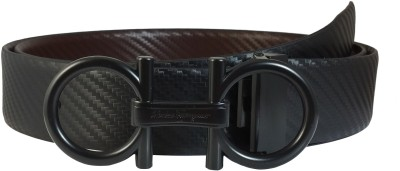 Ammvi Creations Men Formal, Party, Evening Black Genuine Leather Reversible Belt