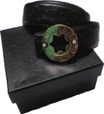 Rafea Boys, Men, Girls, Women Black Genuine Leather Belt
