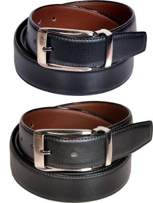 Swan Collection Boys, Men Casual, Formal, Evening Black Artificial Leather Reversible Belt