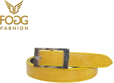 Fogg Fashion Store Girls, Women Casual, Formal, Evening Yellow Artificial Leather Belt