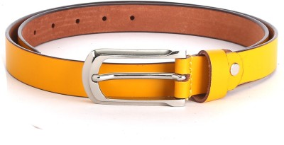 The Deer Club Women Casual Yellow Genuine Leather Belt