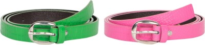 Mdr Collections Girls Formal Green, Pink Artificial Leather Belt