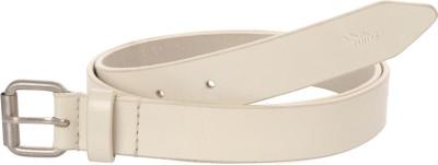 Ilina Women Casual White Genuine Leather, Metal Belt