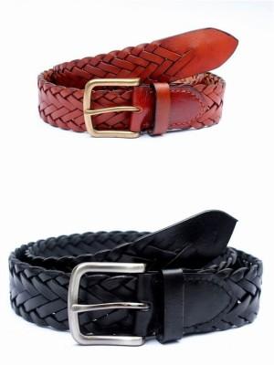 Tops Men Casual Black, Tan Genuine Leather Belt