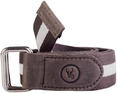 Hidegear Men Casual Brown Genuine Leather, Canvas Belt