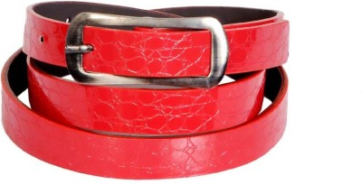 Swan Collection Girls, Women Casual, Formal Red Artificial Leather Belt
