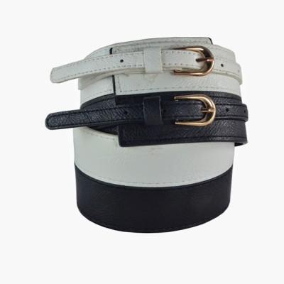 Antiformal Women Casual, Evening, Party White, Black Genuine Leather, Metal Reversible Belt