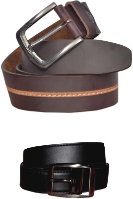 sankalp Men Casual Black Genuine Leather Reversible Belt