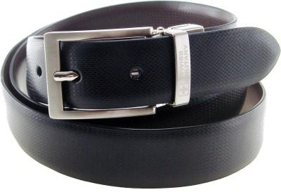 Swiss Military Men Formal, Evening, Party Black Genuine Leather Reversible Belt