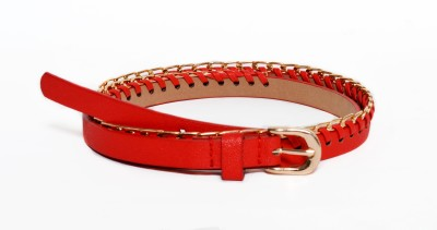 Crux&Hunter Girls Casual Red Artificial Leather Belt