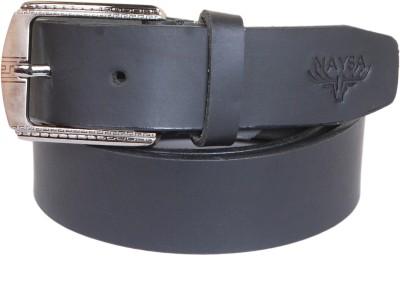 Naysa Men Black Genuine Leather Belt