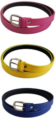 Verceys Girls, Women Casual Pink, Yellow, Blue Artificial Leather Belt
