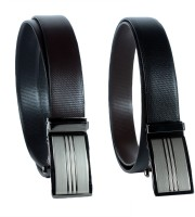 Revo Men Formal Black, Brown Genuine Leather Reversible Belt