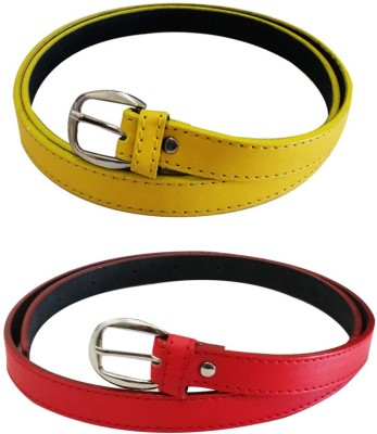 Verceys Girls, Women Casual Yellow, Red Artificial Leather Belt