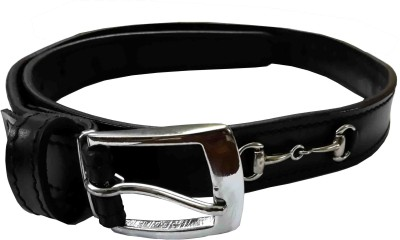 Sterling Germany Boys, Men, Women, Girls Casual, Party, Evening, Formal Black Genuine Leather Belt