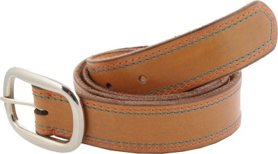 tZaro Men Casual Tan Genuine Leather, Metal Belt