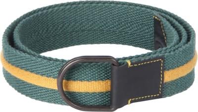 Kaizu Men Casual Green Canvas, Genuine Leather Belt