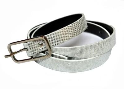 VICTORIA SECRET INDIA Girls Silver Artificial Leather Belt