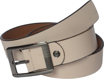 Czar Enterprises Boys, Men Casual White Genuine Leather Belt