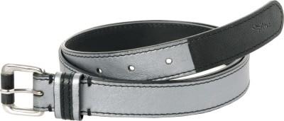 Ilina Women Casual Black, Grey Metal, Genuine Leather Belt