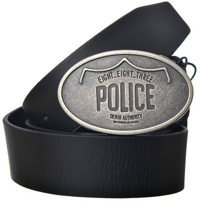 883 Police Men Black Genuine Leather Belt