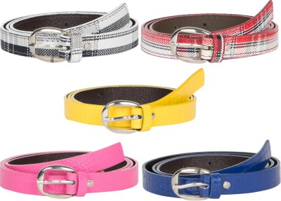 Mdr Collections Girls Formal Pink, Blue, Yellow, Maroon, Black Artificial Leather Belt