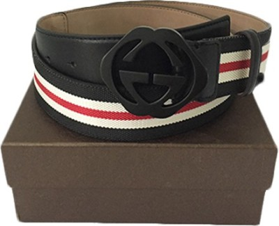 Zaira diamond Men White, Black Genuine Leather Belt