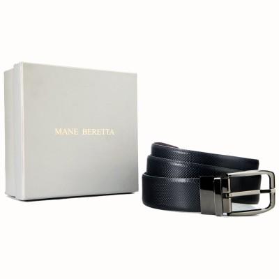 Mane Beretta Men Formal Black Genuine Leather Reversible Belt