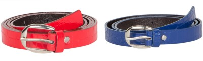 Mdr Collections Girls Formal Blue, Red Artificial Leather Belt