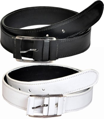 Swan Collection Boys, Men Casual, Formal, Evening Black, White Artificial Leather Belt