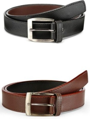 protector Boys, Men Brown, Black Genuine Leather Belt