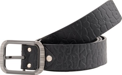 tZaro Men Formal Black Genuine Leather, Metal Belt