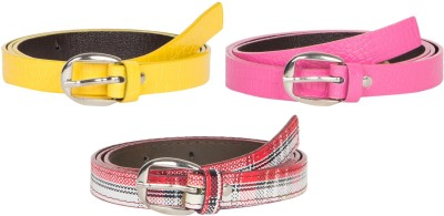 Mdr Collections Girls Formal Yellow, Pink, Maroon Artificial Leather Belt