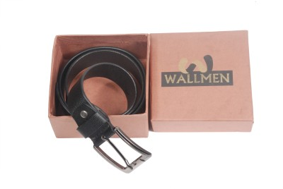 Wallmen Men, Boys Casual, Formal Black Genuine Leather Belt
